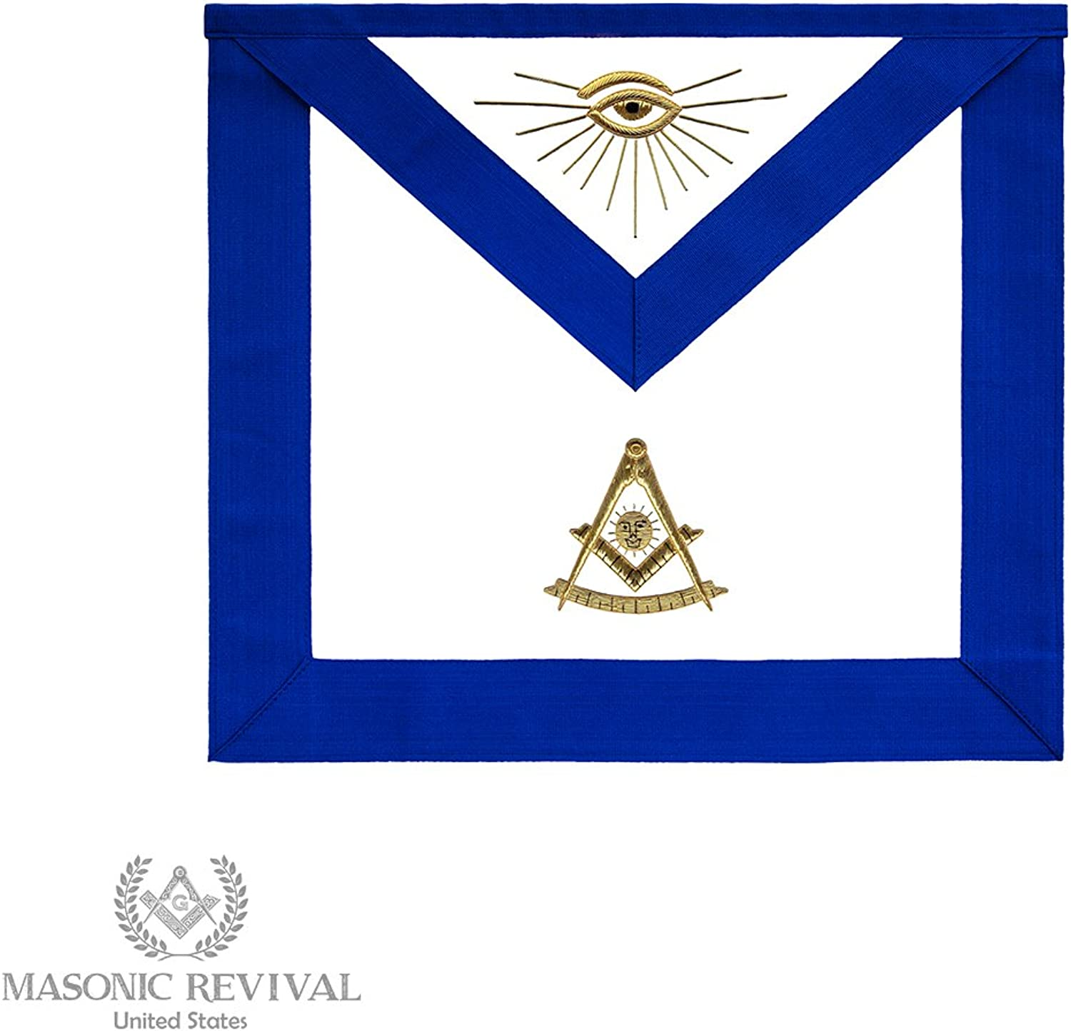Masonic Revival gold Bullion Past Master Apron (Synthetic Leather)
