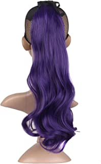 MapofBeauty 2 Pack Curly Ponytail Long Wavy Hair Fashion Hair Accessories (Dark Purple)