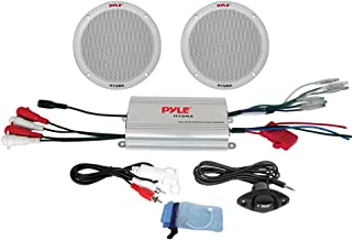 "Pyle Marine Receiver Speaker Kit - 2-Channel Amplifier w/ 6.5"" Speakers (2) Waterproof Poly Bag 3.5mm Jack RCA Adaptor for MP3/iPod & Volume Gain Remote Control & Power Protection Circuitry - PLMRKT2A"