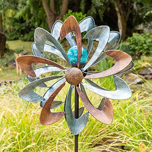 """Primrose Windrad / Windspiel """"Bluebird"""" mit Solarleuchte, Garten 145cm"""