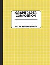 Graph Paper Composition: Yellow Quad Graph Paper Notebook, 100 Pages, Mathematics Graphing Composition Notebook