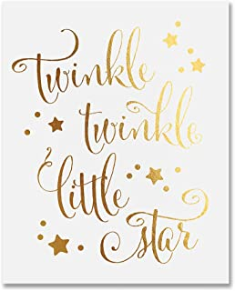 Twinkle Twinkle Little Star Gold Foil Decor Nursery Wall Art Print Poster 5 inches x 7 inches B28