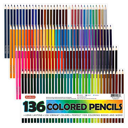 Shuttle Art 136 Colored Pencils, Soft Core Coloring Pencils Set for Adult Coloring Books, Doodling, Sketching, Drawing, Art Supplies