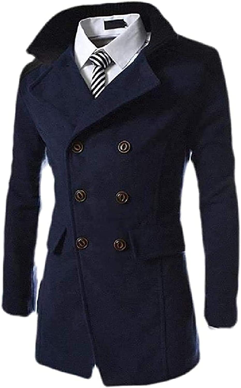 Zjeia Mens Business Double Breasted Lapel Neck Pocket Wool Blend Coat Jacket