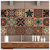 mefound 20psc Tile Stickers,Moroccan Style Wall Tile Transfers Stickers Self-Adhesive Waterproof Vintage Art