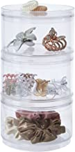 STORi Stackable Clear Plastic Hair Accessory Containers with Lids | Set of 3