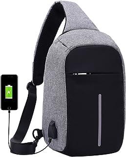 Super Moderno Unisex Puerto de carga USB Nylon Bolsa de hombro Bolsa de hombro Anti-Robo Bolsa de viaje inteligente Bolsa ...