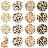 15 Juguetes de Bola Masticable para Animales Pequeños Pelotas Rodantes de Juego Actividades Bola de Hierba de Golosina de Conejito Accesorio para Jaula de Mascota para Conejillo de Indias