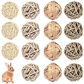 Skylety 15 Pièces Jouet de Balle à Mâcher pour Petit Animal Balles de Jeu d'Activité de Roulement Balle de Friandise Lapin Balle d'herbe Accessoires de Cage pour Animaux de Compagnie