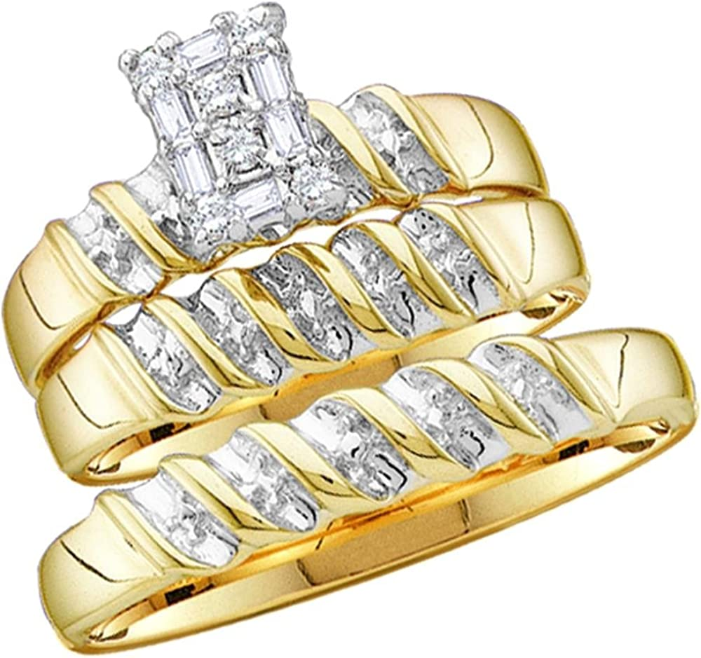 10k Yellow and White 2 Two Tone Gold Mens and Ladies Couple His & Hers Trio 3 Three Ring Bridal Matching Engagement Wedding Ring Band Set - Round and Baguette Diamonds - Emerald Shape Center Setting (1/10 cttw) - Please use drop down menu to select your d
