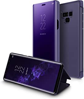Samsung Galaxy Note 9 Mirror Protection Case Smart Clear View Standing Flip Folio Cover, Purple