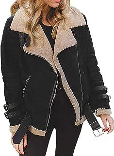 Women Faux Fur Fleece Coat Outwear Winter Warm Zip Up Teddy Bear Casual Biker Motor Lapel Jacket Parka with Pockets
