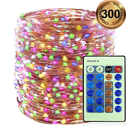 Luci a catena 300 LEDs 30 metri, Luci natalizie Filo di rame All'aperto, Luci Di Stringa Decorazioni per alberi di Natale, Giardino, Interno, festa, Matrimoni (Multicolore)