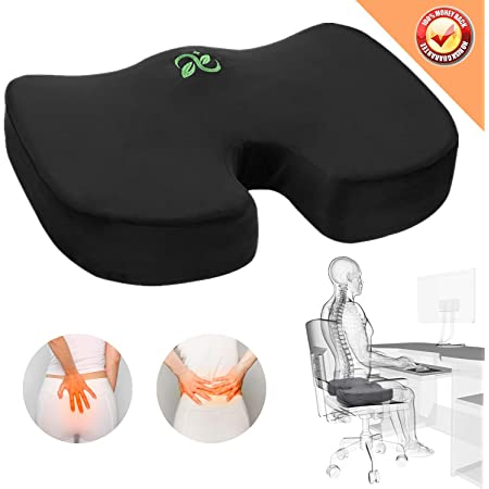 Car Seat Cushion,Orthopedic Memory Foam Pad Filling Coccyx Cushion with Velboa,Non-Slip Cover for Relief Tailbone Pain Sciatica Back Pain