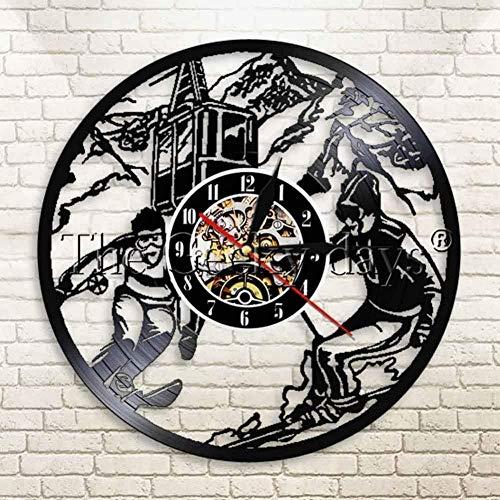 Reloj de pared de vinilo Reloj de esquí Reloj de pared Ski Hobby Sport Reloj de pared Custom 12 pulgadas Snowboard Wall Art Ice Ski Decoración para el hogar Regalo para entusiastas del esquí-A-A
