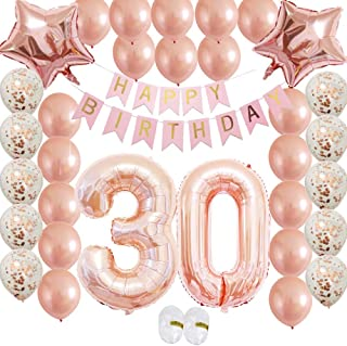 Cheeringup Rose Gold Vintage Happy 30th Birthday Decorations Banner with Confetti Latex Balloons Kit as Gift for Women,Men, Her Girl,Him,Backdrop, Party Supplies,Table,Photo Props
