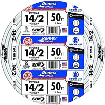 Southwire 28827422 50  14/2 with ground Romex brand SIMpull residential indoor electrical wire type NM-B White