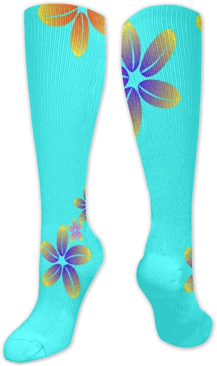 Blue Golden Flowers Knee High Socks Leg Warmer Dresses Long Boot Stockings For Womens Cosplay Daily Wear