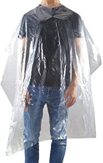 """100 PCS 55""""x 39"""" Disposable waterproof hair cutting capes for hair salons, Hairdressing and Barber shop apron, home use - hair coloring, washing, dye, cut - Transparent or Patterned"""