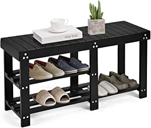 Giantex Wooden Shoe Bench Boot W/Divided Storage Shelf Organizer Seat for Entryway Hallway Living Room Bedroom (Black)