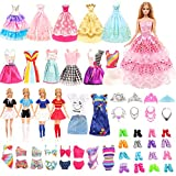 Miunana 41 Accesorios para Barbie Muñeca De 11,5 Pulgadas Y 30 Cm: 5 Vestidos + 4 Trajes De Animadora + 5 Trajes De Baño + 5 Vestidos De Novia + 6 Coronas + 6 Collares + 10 PCS Zapatos