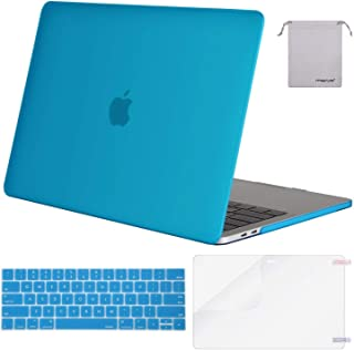 Mosiso MacBook Pro 15 Case 2018 2017 2016 Release A1990 / A1707 with Touch Bar, Plastic Hard Shell & Keyboard Cover & Screen Protector & Storage Bag Compatible Newest Mac Pro 15 Inch, Aqua Blue