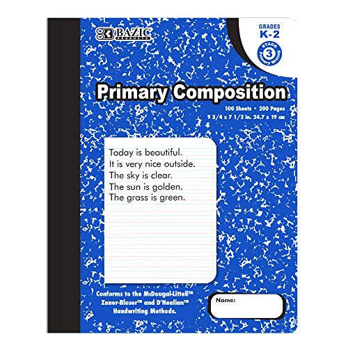 BAZIC 100 Sheets Primary Ruled Blue Marble Composition Book, Elementary Grade Comp Books Writing Journal Notebook with Lined Paper, for Kids Toddler Practice Learning, 1-Pack