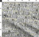 Vintage, Leinen, Architektur, Scrummy, Stadt Stoffe -