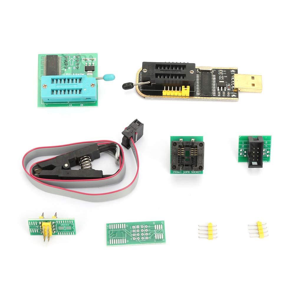 CH341A USB Programmer + SOP8 Test Clip + 1.8V Adapter + SOP8 to DIP8 Converter Module CH341A 24 25 Series Programmer