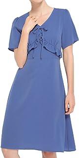 76dbb7a3941 Luna et Margarita Robe Courte Bleue Évasée Style 60s Féminine Taille Empire  Manche Courte en Mousseline