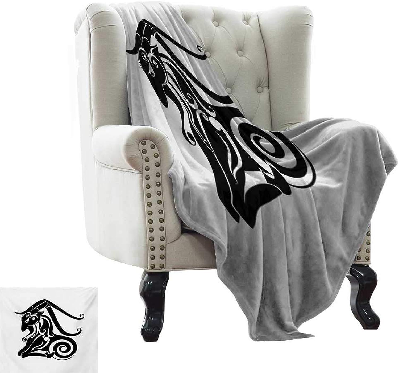 RenteriaDecor Zodiac Capricorn,Bed Sheet Monochrome Astrology Themed Pattern Abstract Animal Illustration 70 x60  Super Soft Boys Warm Blanket Black and White
