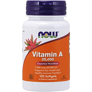 NOW Supplements, Vitamin A (Fish Liver Oil) 25,000 IU, Essential Nutrition, 100 Softgels