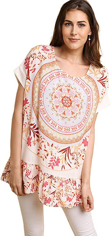 Umgee Women's Medallion & Floral Print Oversized Tunic Top