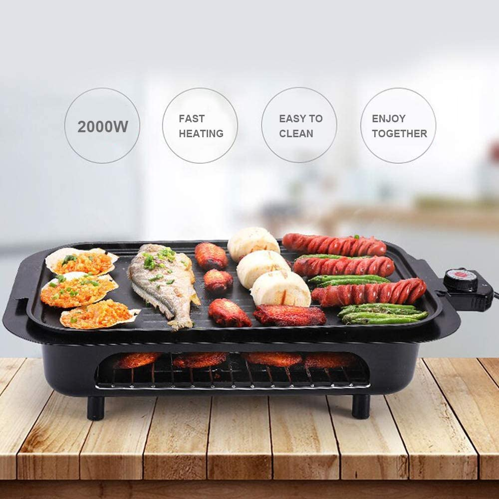 Kyman Barbecue électrique Grill Double Couche Barbecue antiadhésif Smokeless avec 5 Niveaux de température de réglage en Forme Amovible Accueil Dîner (2000W), 1 (Color : 5) 6