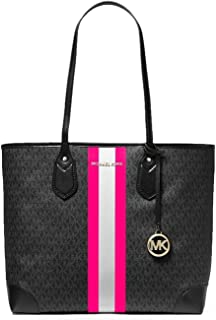 MICHAEL Michael Kors Eva Large Tote Black/Neon Pink One Size
