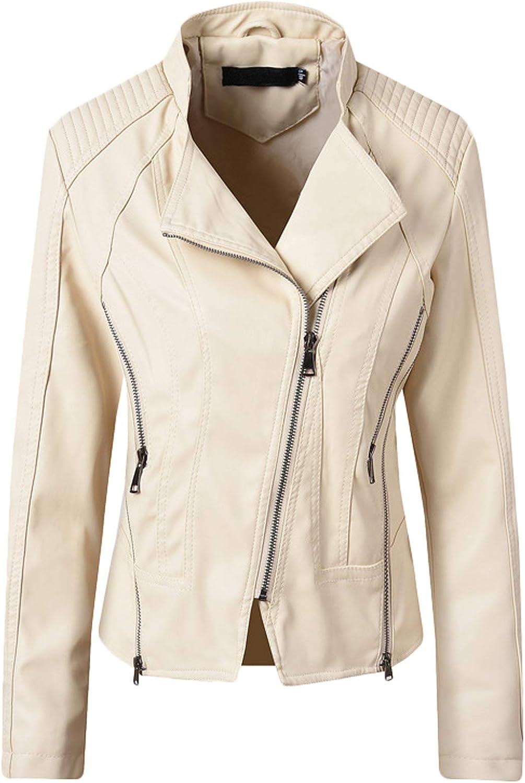Youhan Women's Slim Cropped Faux Leather Jacket Biker Coat