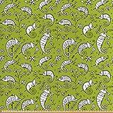 ABAKUHAUS Grün und Weiß Stoff als Meterware, Lustiges