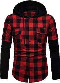Mens Shirts Hoodie Casual Autumn Winter Button Plaid Hooded Sweatshirt Pullover Tops Button Splice Sweatshirt Long Sleeve ...