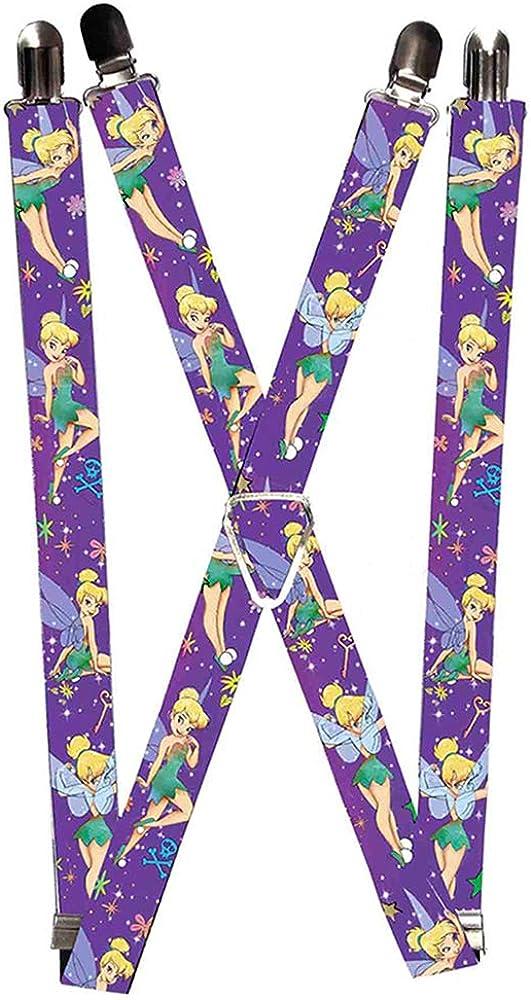 Buckle-Down Suspenders-Tinker Bell Poses/Flowers/Stars/Skull Purple