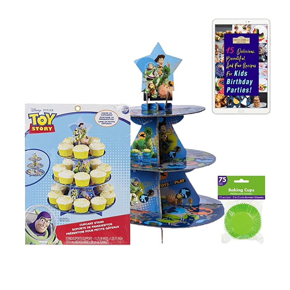 Toy Story Cupcake Kit bundle :: 1 Toy Story Cupcake Stand, and 75 Green Cupcake Liners with an eBook on fun recipes for Kids Birthday Parties