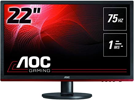 """AOC g2260Vwq6 21.5"""" Widescreen TN LED Black/Red Monitor (1920x1080/1ms/VGA/HDMI/DP)"""