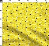Pointillismus, Wabe, Honig, Bienen, Gelb, Sechsecke Stoffe