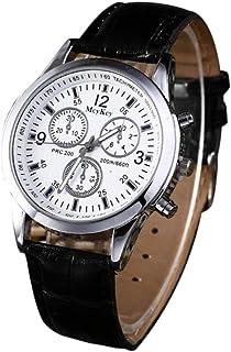 Leedford Watch,Mens Fashion Crystal Stainless Steel Analog Quartz Wristwatch Simple Clock