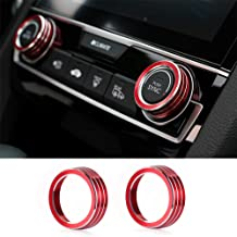 Thenice for 10th Gen Honda Civic Air Condition Knob Cover Trims, Anodized Aluminum AC Switch Temperature Climate Control Rings for Civic 2016 2017 2018 2019 (Red)