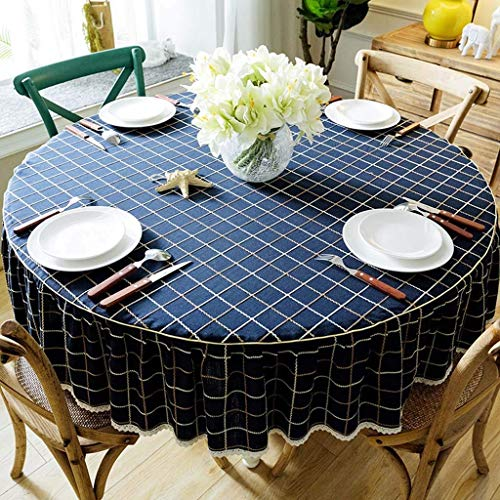 Dpliu American Style Tablecloth Non-Slip Round Cotton Linen Washable Table Cover for Outdoor and Indoor,Wedding,Party,Christmas (Color : Blue, Size : 130cm Round)