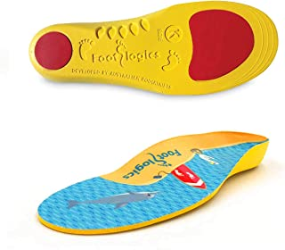 Footlogics Fun Kids Orthotic Shoe Insoles with Arch Support for Children's Heel Pain (Sever's Disease), Growing Pains, Flat Feet - Children's, Pair (Small Kids 11-13, Yellow)