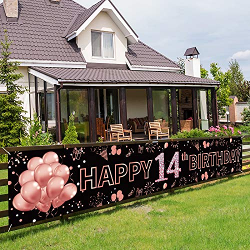 Pimvimcim 14th Birthday Banner Decorations for Girls, Large Happy 14 Year Old Birthday Party Backdrop Decor Supplies, Rose Gold Fourth Birthday Party Sign for Outdoor Indoor