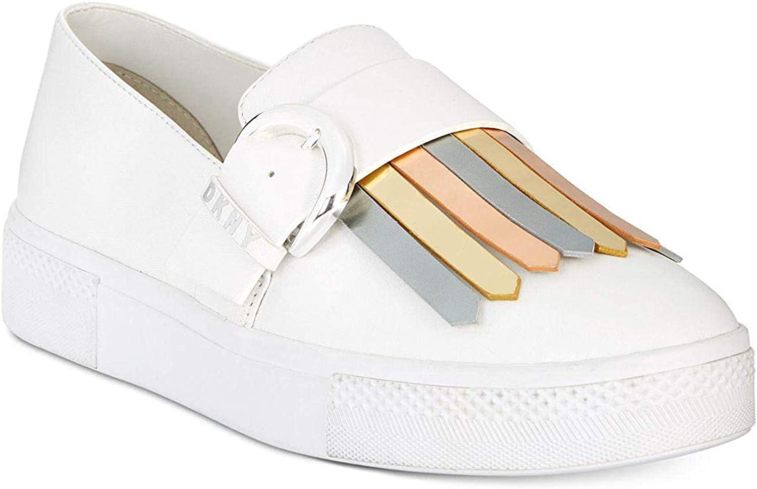 DKNY Womens Jules Leather Low Top Slip On Fashion Sneakers