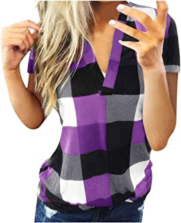 FORUU womens Tops&Tee Women`s Zip Plaid Polo Blouse Tops