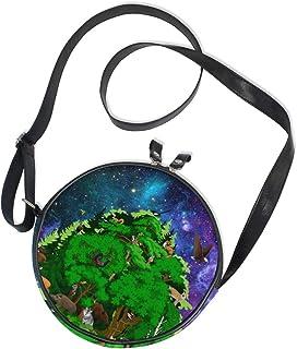 Ahomy Runde Tasche Klein für Frauen - 3D Wald mit Tieren Galaxie Nebel Sternenhimmel Damen Mode Crossbody Tasche Umhängeta...